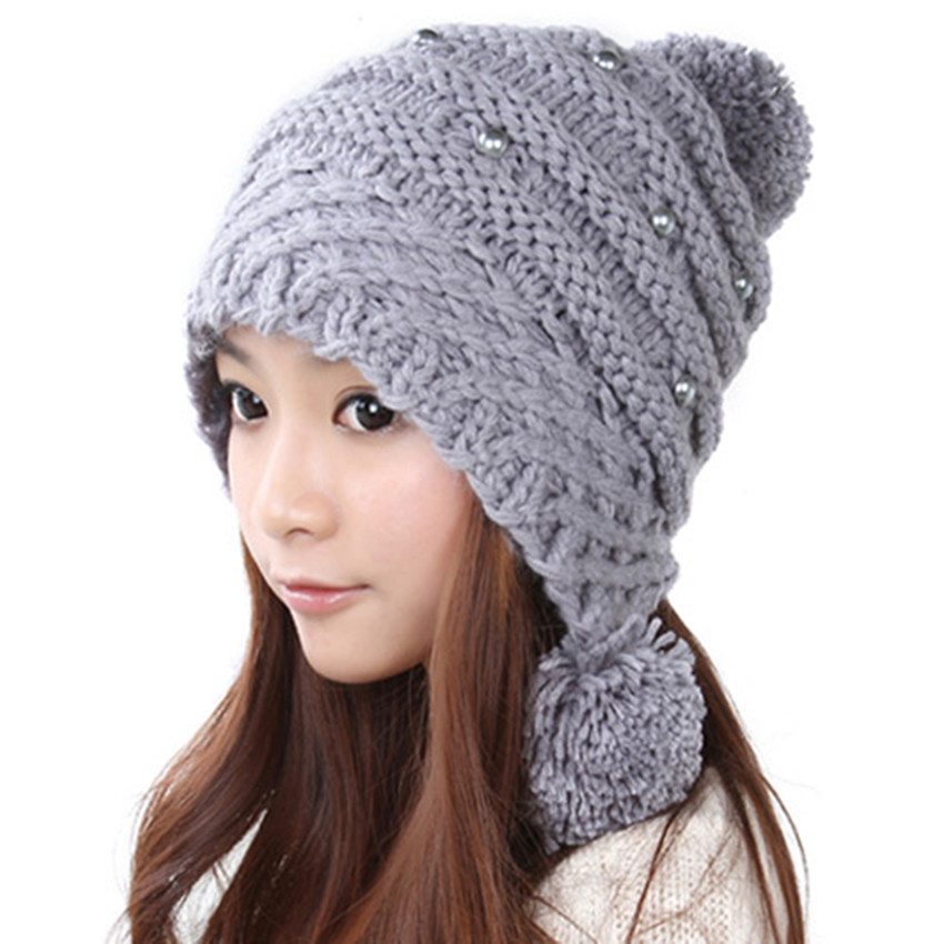 9ed47db4fdf Get Quotations · Winter Beanie Cute Pearl Warm Classic Tight Knitted Hat  Women Cap Winter Beanie Headgear Headdress Head