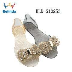 Soft PVC Sandals China Fish Mouth Transparent Flat Ladies Jelly Shoes