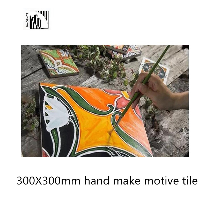 Hand make flower design motive tiles 300X300mm glazed floor tiles
