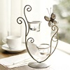 European style iron with glass butterfly shape home accessories romantic candlelight dinner candle holder