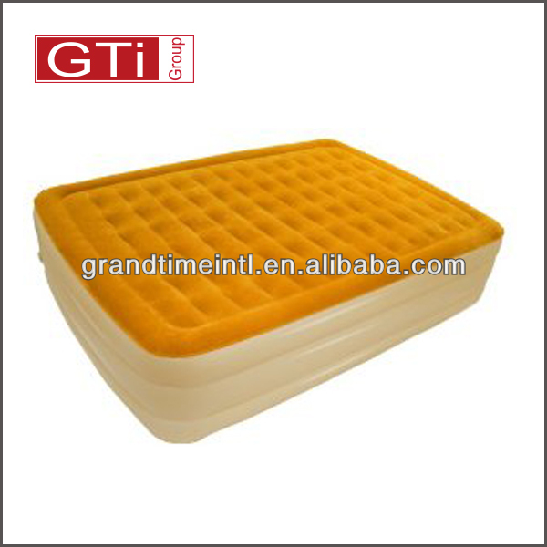 Queen size orange color ,with good quality, competitive price Airtek flocked air bed(AGTQR4805)