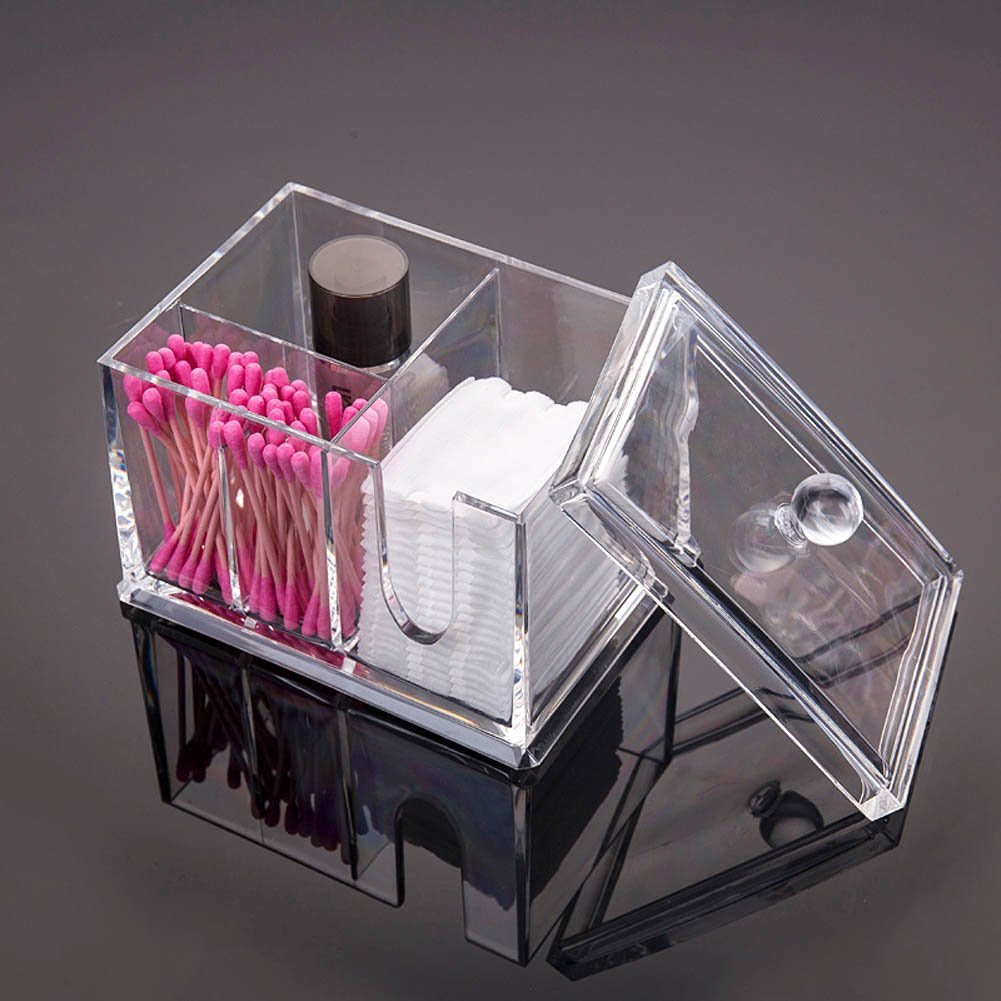 Sixsop Cotton applicator Box / Coin Bank Card / Business Card / Charger / Cable / Makeup Organizer / Cosmetic Display Box / Skin Care Storage Box / Desktop Finishing Storage Box