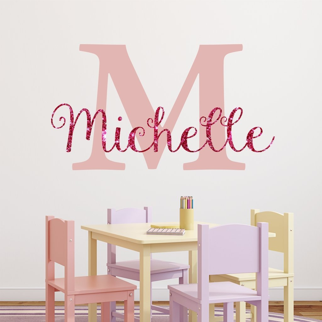 Buy Nursery Pink Sparkle Custom Name Wall Decal Sticker, 34 ...