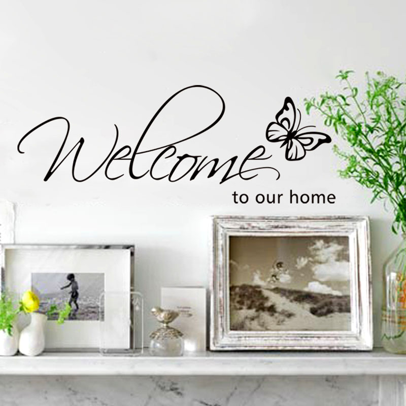 New Quote Removable Vinyl Decal Wall Sticker with butterfly Welcome to our <font><b>home</b></font> <font><b>Decor</b></font> <font><b>elegant</b></font> word WALL STICKERS DIY wall 21DT