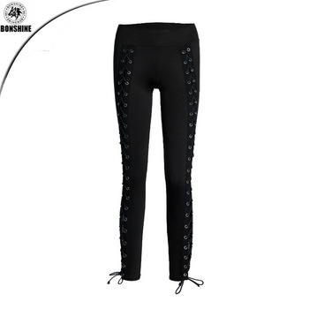 Wholesale women compression yoga tights custom fitness gym leggings Lace-up pencil pants for women