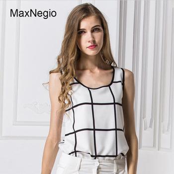 af44eb396666b Maxnegio 2018 Ladies Tops Latest Design White Printed Sleeveless Plaid  Summer Chiffon Women Blouse