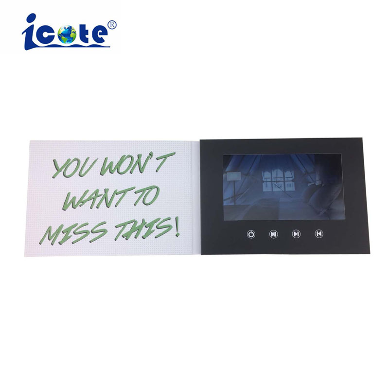 Cote Customized printing 7 inch lcd screen video brochure for advertising