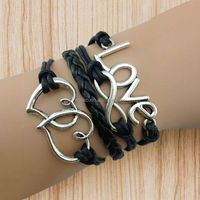 2014 Fashion Love, infinity , heart to heart leather rope bracelet ,Bangle Wax Cords Leather Bracelet