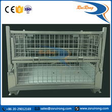 foldable metal steel wire mesh storage bin with wheels / storage cage