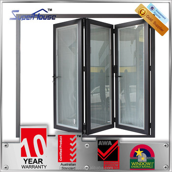 Aluminium insulated bifold door double glass fold away for Insulated double doors