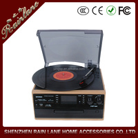 Classical Turntable with AM FM Radio CD Cassette/ USB Recorder