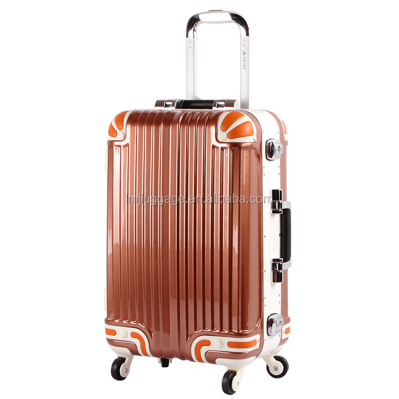 Top quality luggage school bag trolley abs+pc plastic luggage suitcase