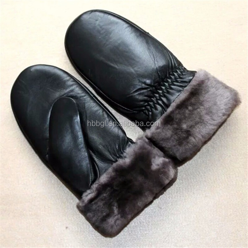 2016 factory wholesale News shell sheepskin leather glove, full finger fur gloves Made in China