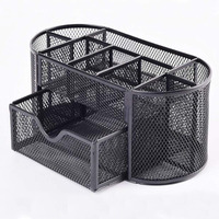Large Multifunction Desk Tidy Metal Mesh Organiser Set Office Caddy Tray Pencil Pen Holder 9 Compartments with Drawer