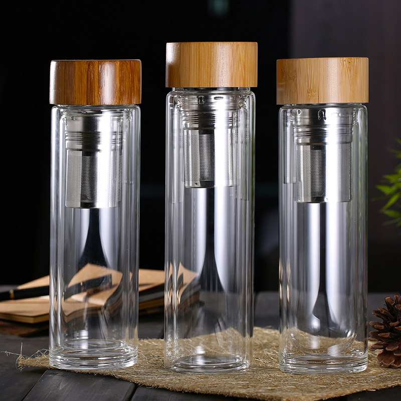 Custom logo printing 16oz outdoor water bottle double wall glass bottle with wood lid