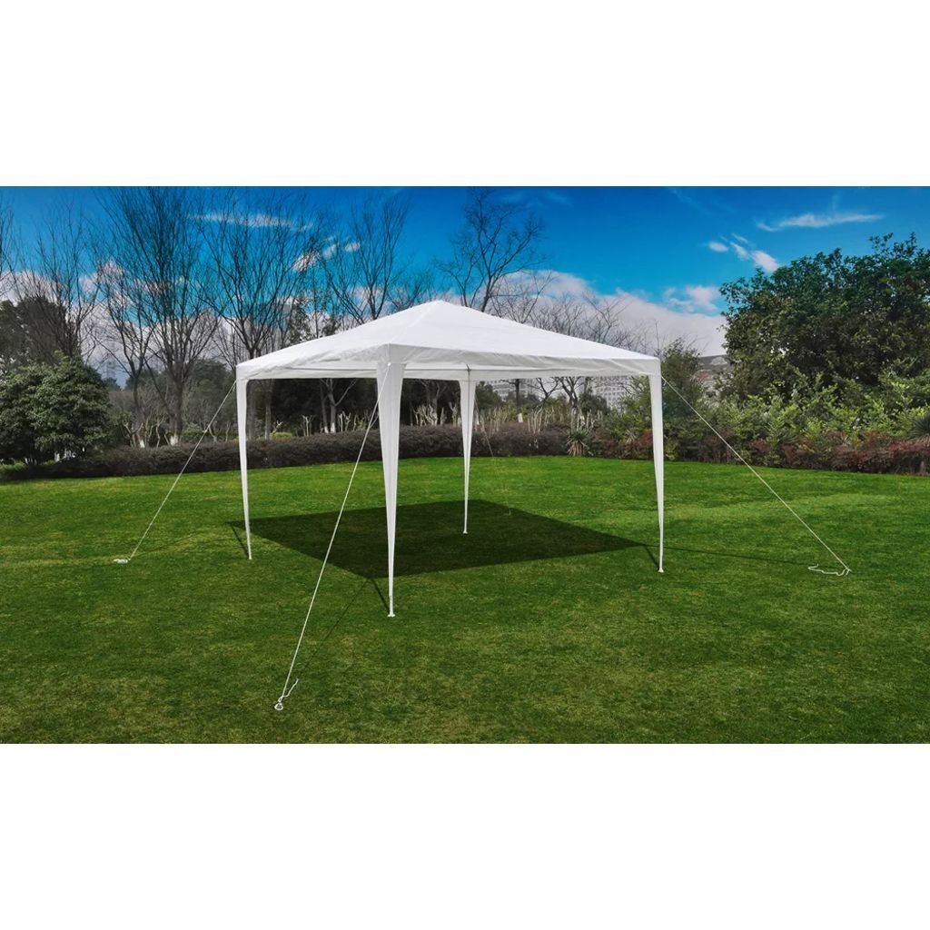 BLXCOMUS White Sun Shelter Tent Pyramid-Roof Garden Gazebo Pavilion Outdoor Gazebo Netting With 1 Canopy, 8 Steel Poles, 4 Pieces Of Rope And Stakes