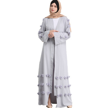 2018 Trendy Modest Saudi Crepe Material Islamic Clothing Dubai New Kimono Abaya With Stitch Flower