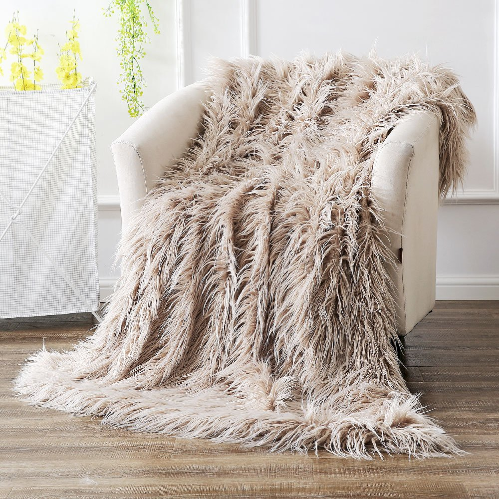 Ojia Super Soft Fuzzy Shaggy Mongolian Lamb Throw Blanket Plush Warm Fluffy Cozy Elegant Long Faux Fur Blanket Bedding Cover Chic Decorative Bedroom Sofa Floor(50 x 60 inch, Light Coffee)