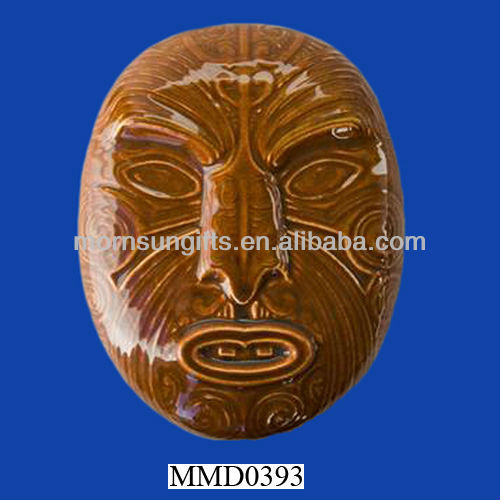 Featured ceramic Maori tiki wall mask