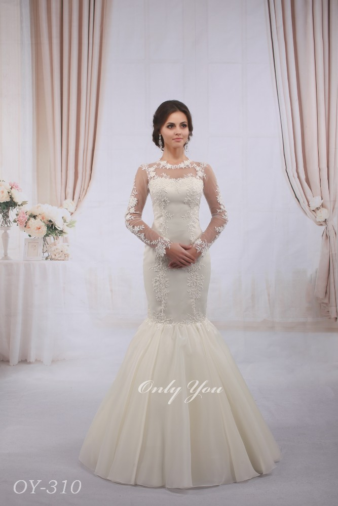 Modest Mermaid Wedding Dress Muslim Beaded Lace Long Sleeves Floor ...