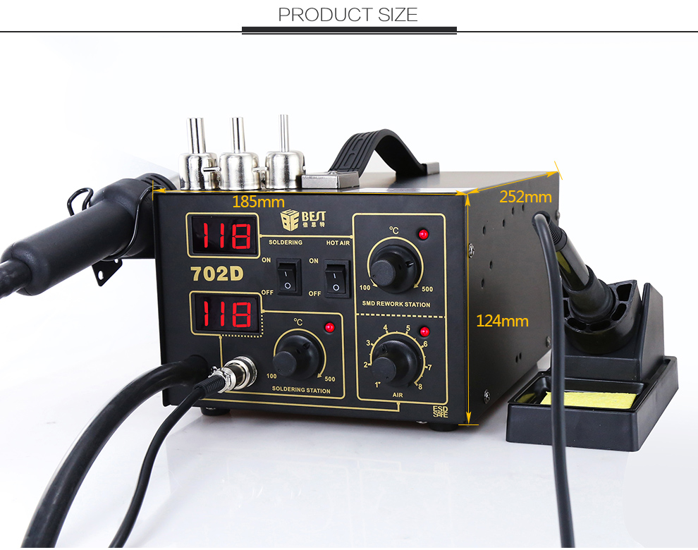 BST-702D 2 in 1 digital display rework station soldering iron and heat gun