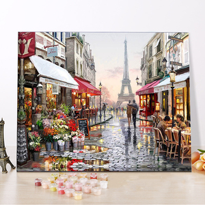 CHENISTORY DZ1009 Painting By Numbers Canvas Paris Flower Street framed oil paintings