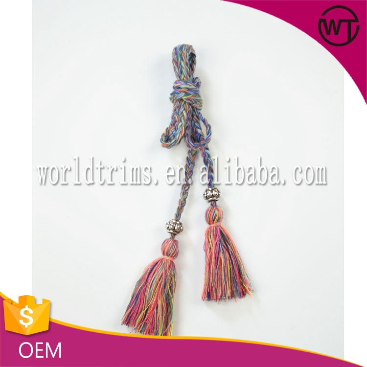 Decorative braided card long tassels for clothing