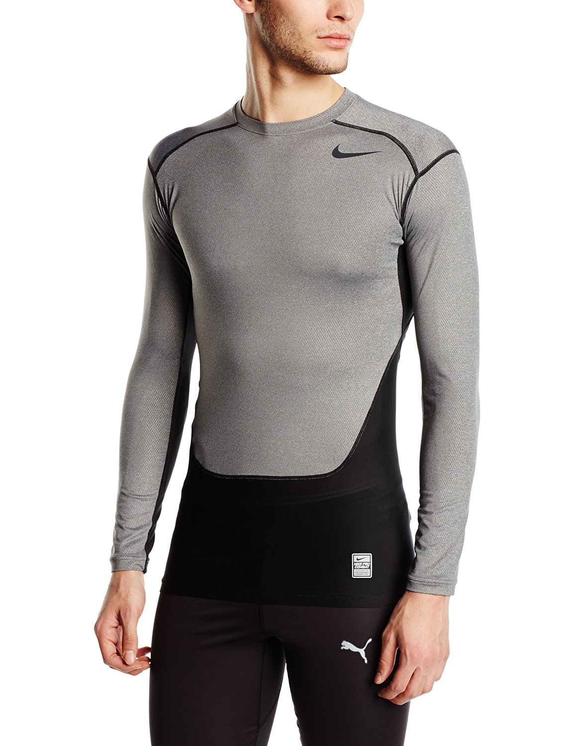 Nike Pro Combat Hypercool Compression LS Top (Carbon Heather)
