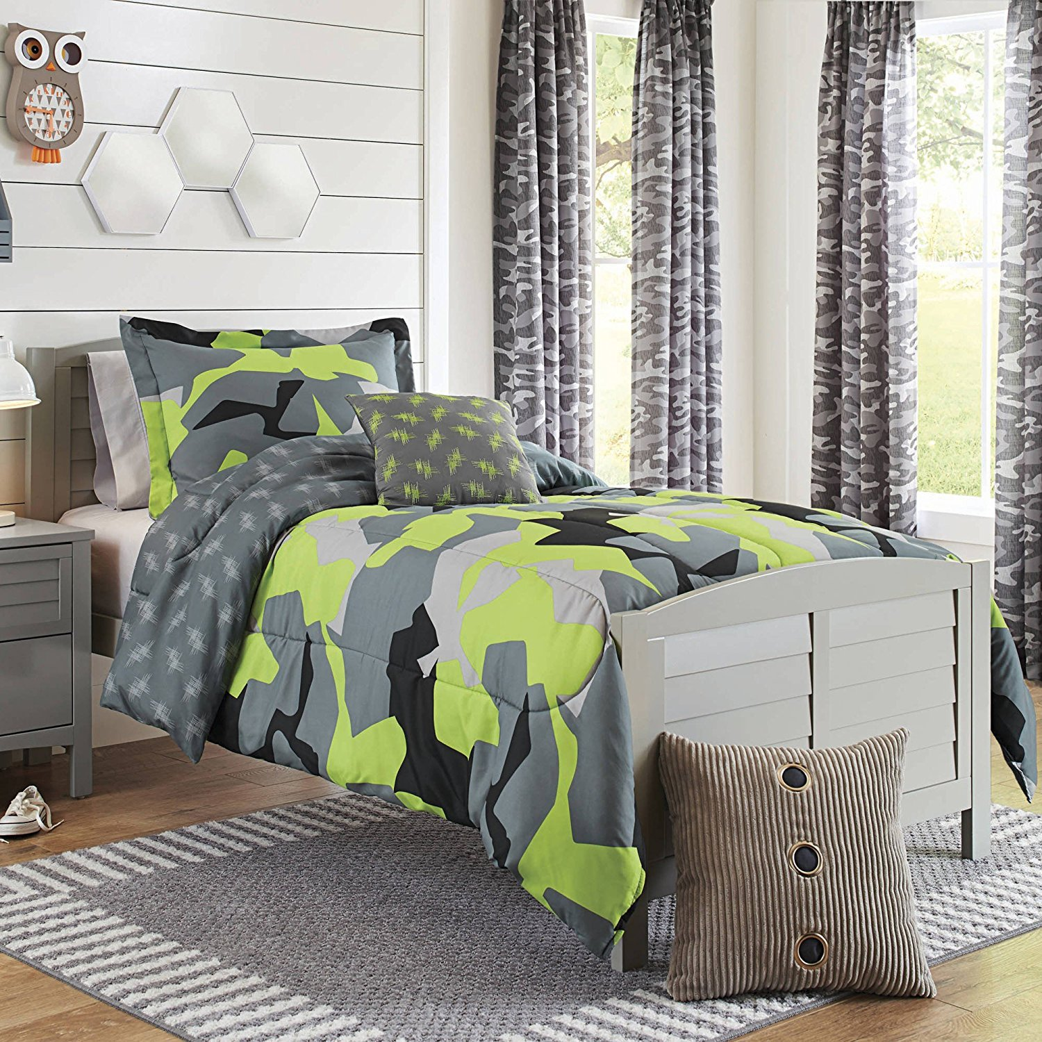 3 Piece Boys Lime Grey Black Camo Comforter Twin Twin Xl Set, Multi Camouflage Pattern Army Themed Stylish Green Plaid Design Kids Bedding Teen Bedroom, Reversible Solid Grey Color Trendy, Polyester