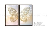 Butterfly handmade scenery picture wall picture for restaurant fabric painting designs