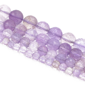 wholesale DIY jewelry high quality 8 mm natural round cut faceted gemstone amethyst crystal beads