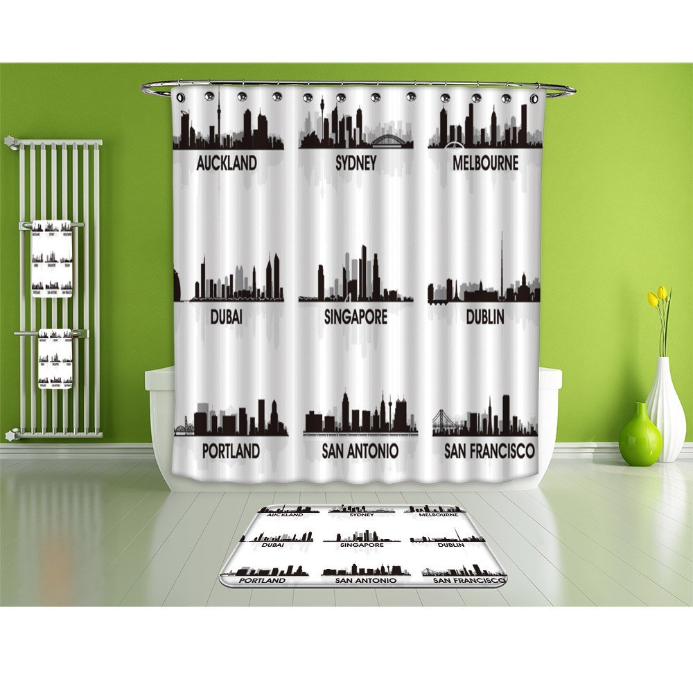NALAHOMEQQ Bathroom Suits/16Piece Bathroom Set/Bathroom Accessory Set,1 Shower Curtains&1 Floor Mats&1 Bath Towels &1 Towel And 12 High-grade hook Decorate the bathroom(city skyline set)