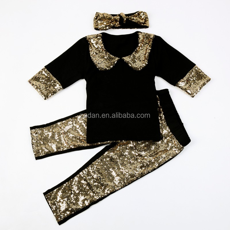 Black Gold Soild color clothing factories in china girls boutique clothing fall 2016 baby newborn set