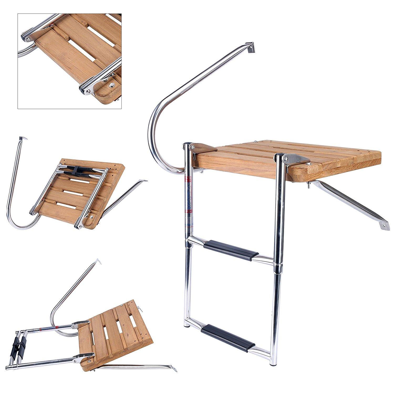 Amarine-made Boat Outboard Inboard Swim Fiberglass Platform with 2-steps Ladder