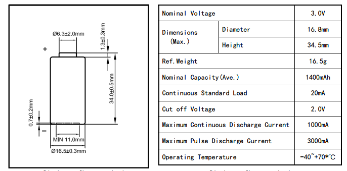 3V 1200mAh al litio 2cr5 CF502540 film sottile batteria 3 volt li mno2