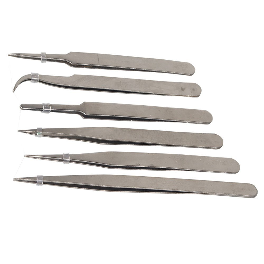 FUT 2-3 Business Days Fast Delivery 6-piece Precision Tweezer Set Anti-static TS Stainless Steel Tweezers for Electronics, Jewelry-making, Laboratory Work, Hobbies