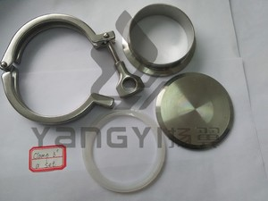stainless steel 3'' tri clover clamp with end cap ferrule and gasket