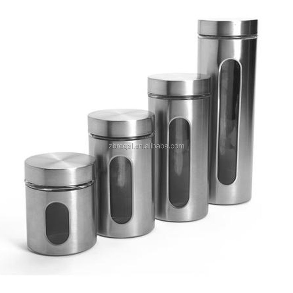 Stainless Steel Cylinder Kitchen Canister Set 4 Piece Glass Window Storage Jars