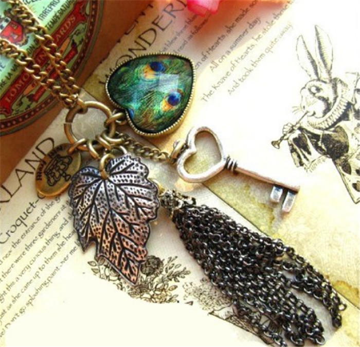 fashion vintage female long design peacock feather tassel necklace love key wholesale Pendants & Necklaces women <strong>jewelry</strong>