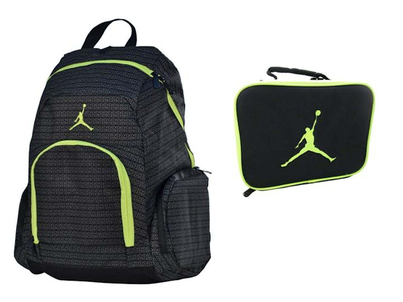 Nike Air Jordan Jumpman 23 Laptop Volt (Neon Green) Backpack & Lunch Tote + FREE Cell Phone Anti-Dust Plug