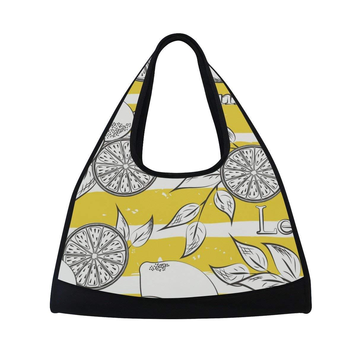 Sport Gym Bag Leaf Lemon Fruit Pattern Canvas Travel Duffel Bag