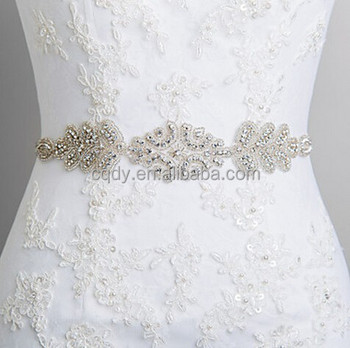 2015 Professional Wedding Dress Sash Rhinestone Applique Bridal Belt