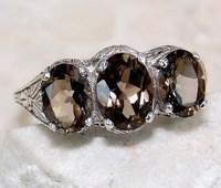 AFR736 Antique Ladies 14k White Gold Plated Three Stones Filigree Wedding Ring USA Size 6/7/8/9#