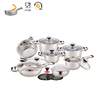 Factory price Induction ware clear glass lid non stick kitchenware 16pcs cooking set non stick