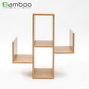 Hot Selling New Arrival Cactus Designed Bamboo Wooden Wall Mounted Living Room Storage Rack 3-Tier Shelf