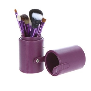 Leather Travel makeup blush brush barrel with felt inside