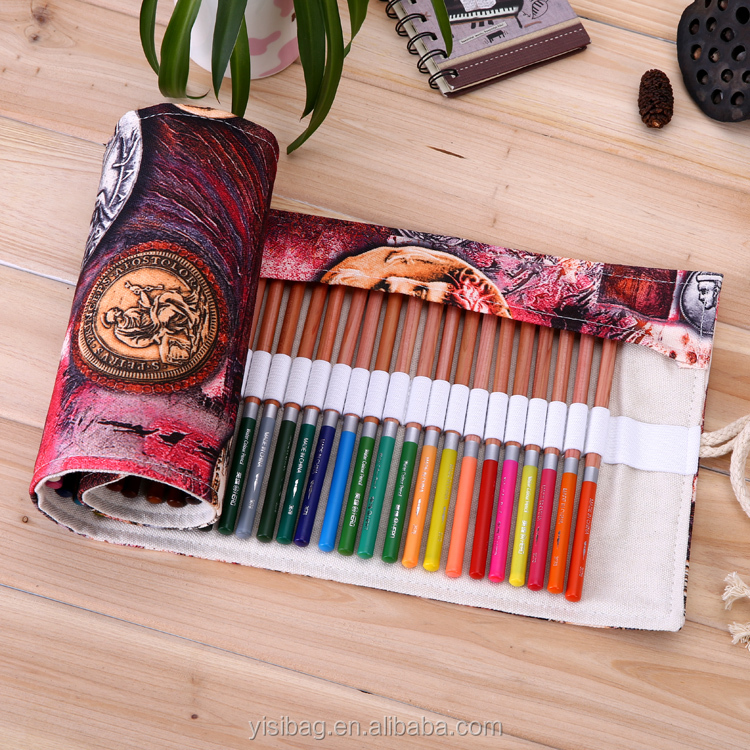 72 holes pencil bag roll pencil case, Canvas Pencil Roll Up Storage, Stationery, art supplies school supplies