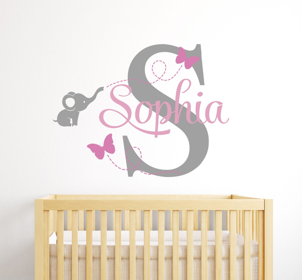 Cute Elephant CUSTOM Girl Name Wall Sticker Home Decor Vinyl Lettering Wall Decals For girls room Quote Wall Decoration Wall Art