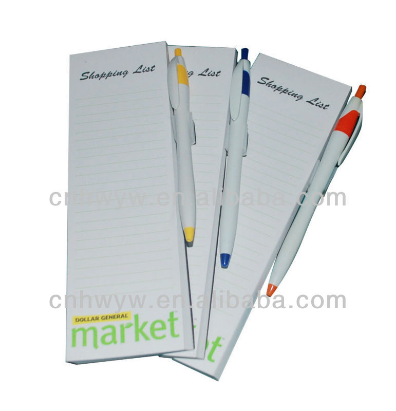 Magnetic Notepad with ball pen for promotion