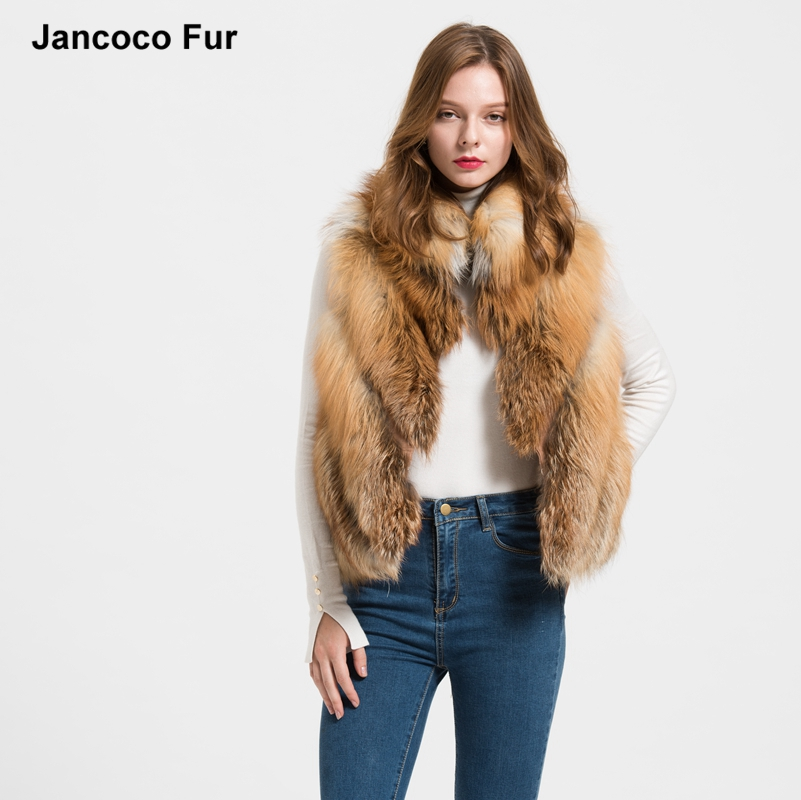 Frauen Echt Fox Pelz Weste Winter Damen Gilet Mode Weste Mantel Stehkragen